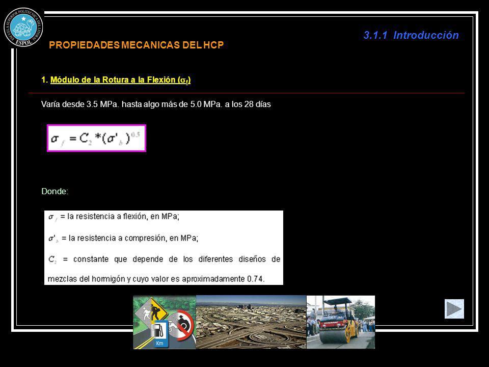 3.1.1 Introducción 1. Módulo de la Rotura a la Flexión ( f ) Varía desde 3.5 MPa. hasta algo más de 5.0 MPa. a los 28 días Donde: PROPIEDADES MECANICA