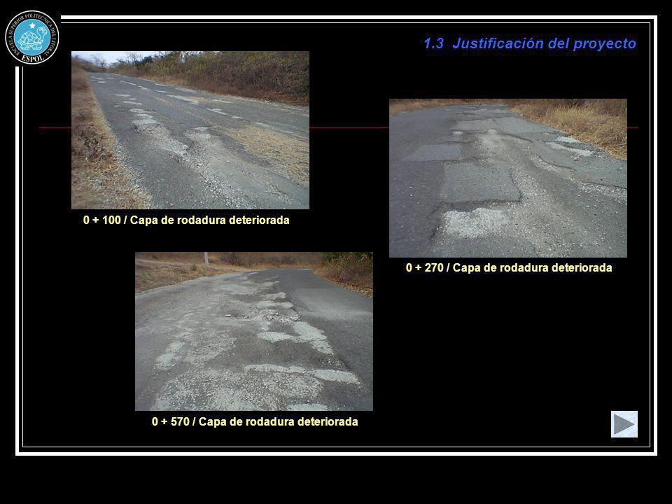 1.3 Justificación del proyecto 0 + 100 / Capa de rodadura deteriorada 0 + 270 / Capa de rodadura deteriorada 0 + 570 / Capa de rodadura deteriorada