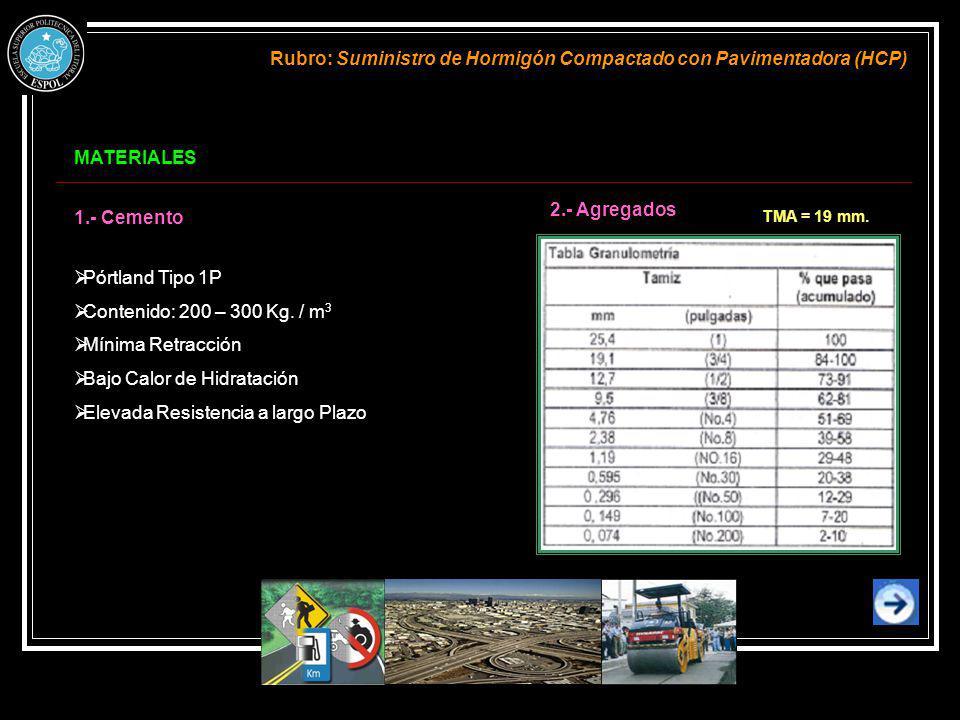 MATERIALES Rubro: Suministro de Hormigón Compactado con Pavimentadora (HCP) 1.- Cemento Pórtland Tipo 1P Contenido: 200 – 300 Kg. / m 3 Mínima Retracc