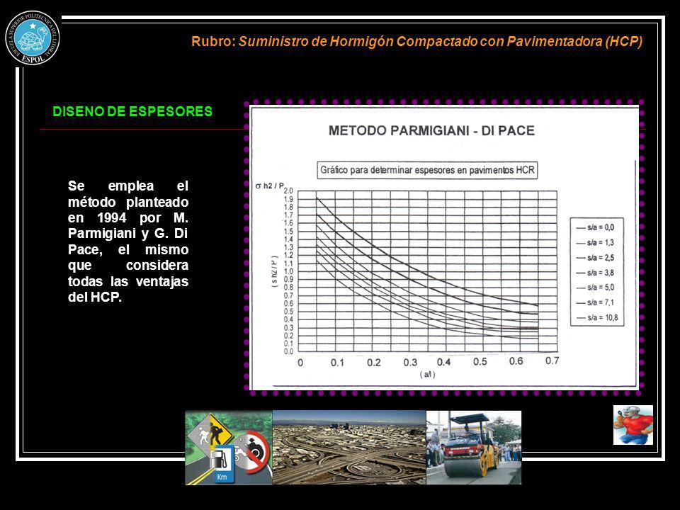 DISENO DE ESPESORES Rubro: Suministro de Hormigón Compactado con Pavimentadora (HCP) Se emplea el método planteado en 1994 por M. Parmigiani y G. Di P