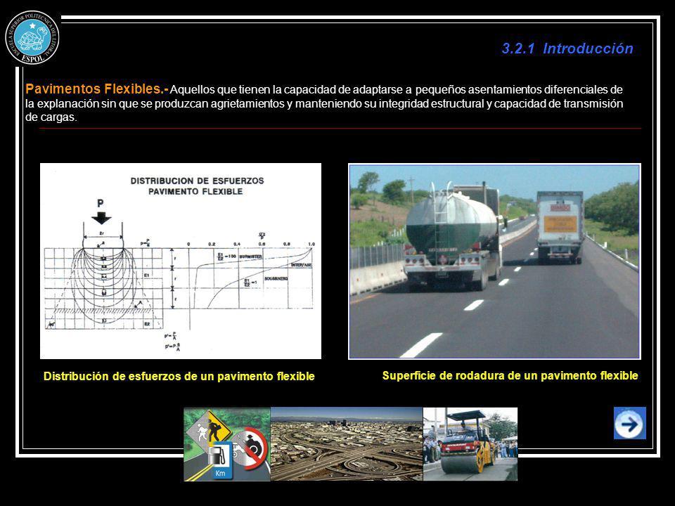 3.2.1 Introducción Pavimentos Flexibles.- Aquellos que tienen la capacidad de adaptarse a pequeños asentamientos diferenciales de la explanación sin q
