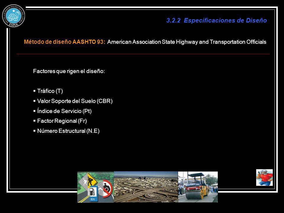 Método de diseño AASHTO 93: American Association State Highway and Transportation Officials 3.2.2 Especificaciones de Diseño Factores que rigen el dis