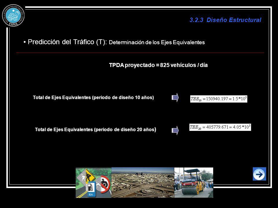 Predicción del Tráfico (T): Determinación de los Ejes Equivalentes TPDA proyectado = 825 vehículos / día Total de Ejes Equivalentes (periodo de diseño
