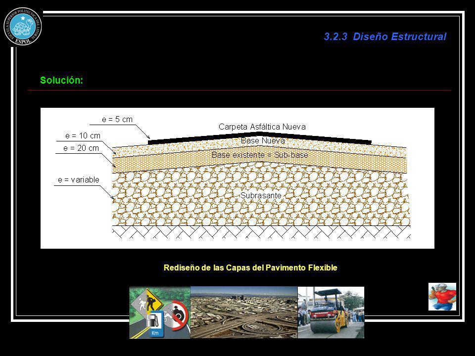 Rediseño de las Capas del Pavimento Flexible Solución: 3.2.3 Diseño Estructural