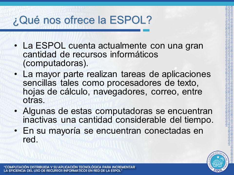 ¿Qué nos ofrece la ESPOL? La ESPOL cuenta actualmente con una gran cantidad de recursos informáticos (computadoras). La mayor parte realizan tareas de