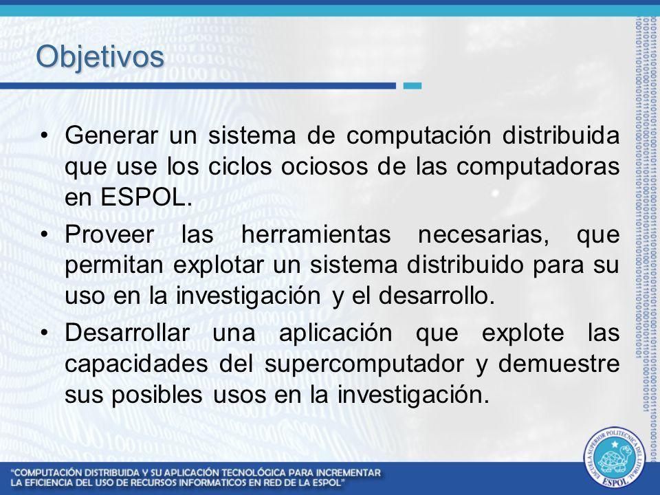 Objetivos Generar un sistema de computación distribuida que use los ciclos ociosos de las computadoras en ESPOL. Proveer las herramientas necesarias,