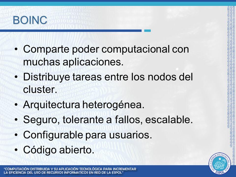 BOINC Comparte poder computacional con muchas aplicaciones. Distribuye tareas entre los nodos del cluster. Arquitectura heterogénea. Seguro, tolerante