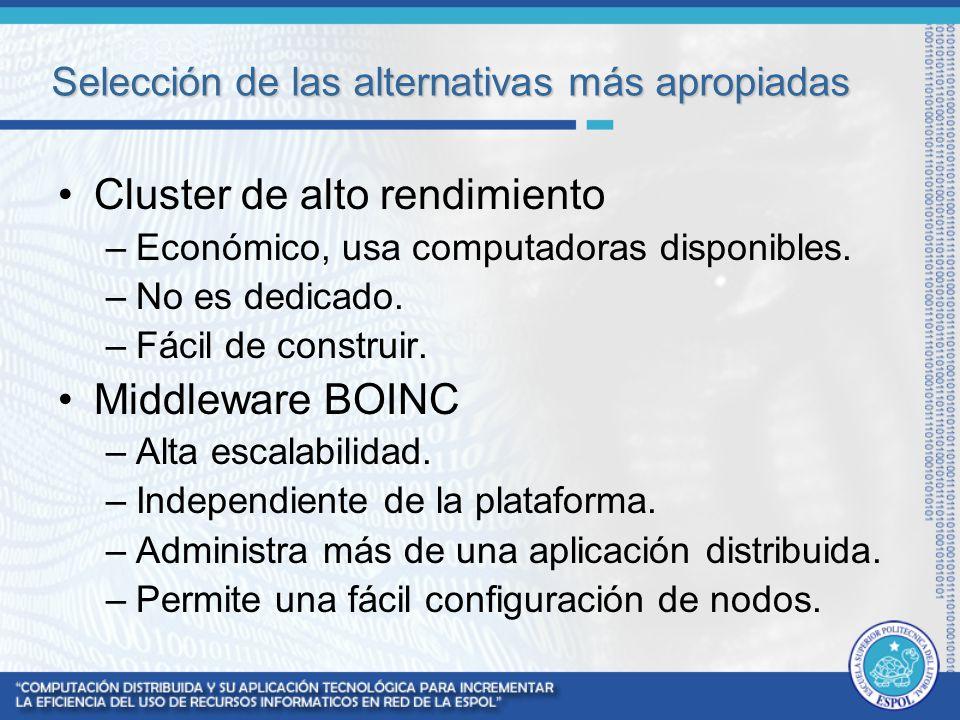 Selección de las alternativas más apropiadas Cluster de alto rendimiento –Económico, usa computadoras disponibles. –No es dedicado. –Fácil de construi
