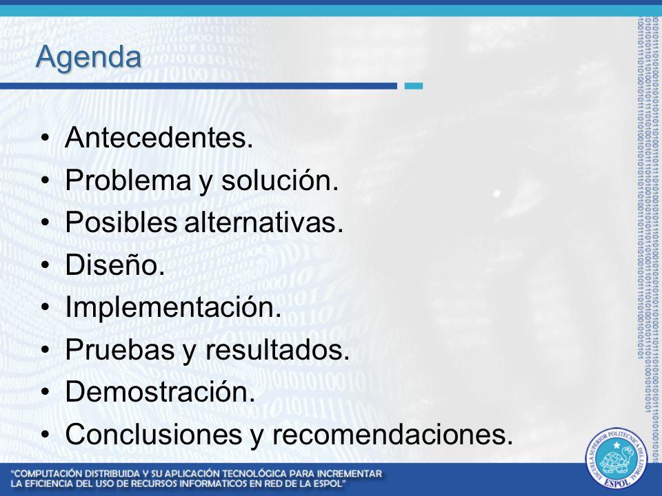 Agenda Antecedentes. Problema y solución. Posibles alternativas. Diseño. Implementación. Pruebas y resultados. Demostración. Conclusiones y recomendac