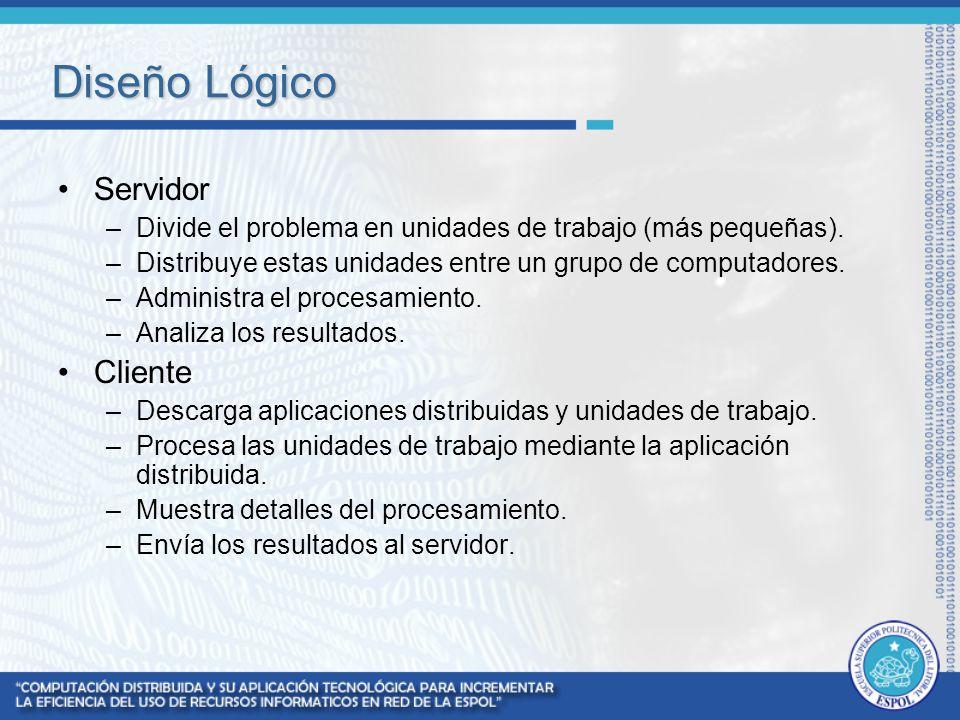 Servidor –Divide el problema en unidades de trabajo (más pequeñas). –Distribuye estas unidades entre un grupo de computadores. –Administra el procesam