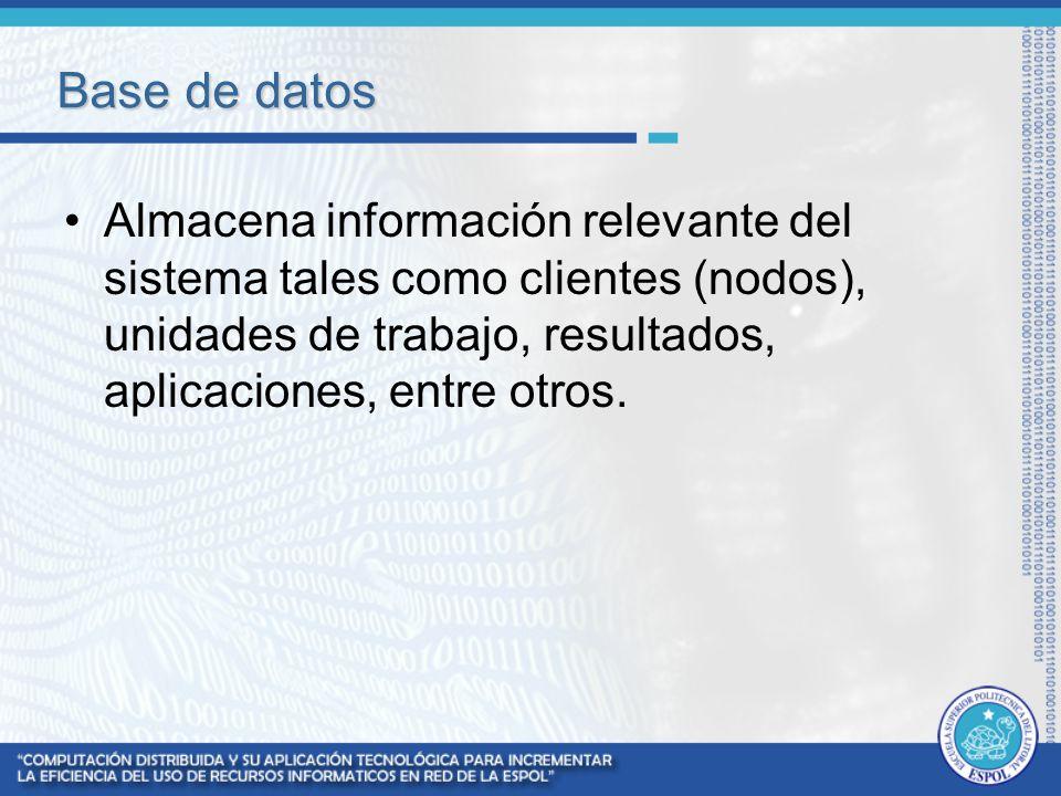 Base de datos Almacena información relevante del sistema tales como clientes (nodos), unidades de trabajo, resultados, aplicaciones, entre otros.