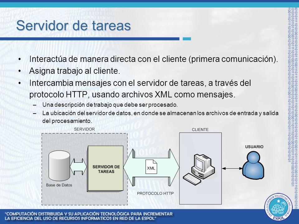 Servidor de tareas Interactúa de manera directa con el cliente (primera comunicación). Asigna trabajo al cliente. Intercambia mensajes con el servidor