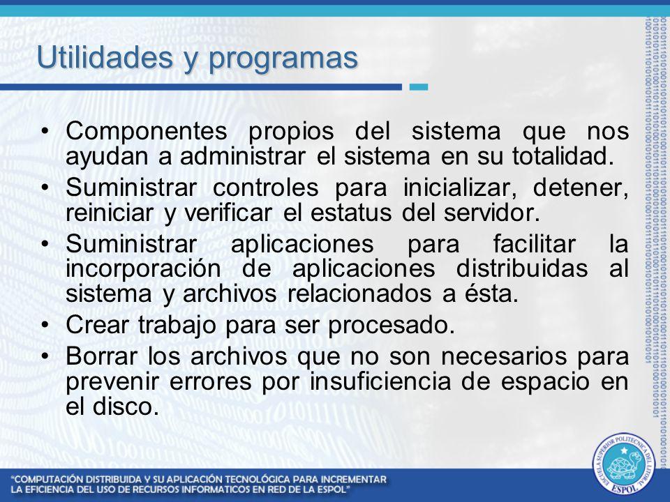 Utilidades y programas Componentes propios del sistema que nos ayudan a administrar el sistema en su totalidad. Suministrar controles para inicializar