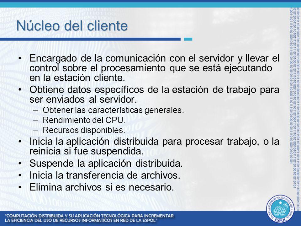 Núcleo del cliente Encargado de la comunicación con el servidor y llevar el control sobre el procesamiento que se está ejecutando en la estación clien