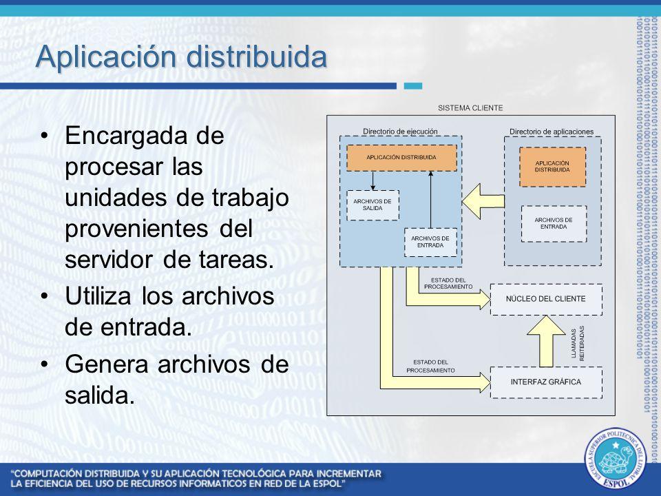Aplicación distribuida Encargada de procesar las unidades de trabajo provenientes del servidor de tareas. Utiliza los archivos de entrada. Genera arch