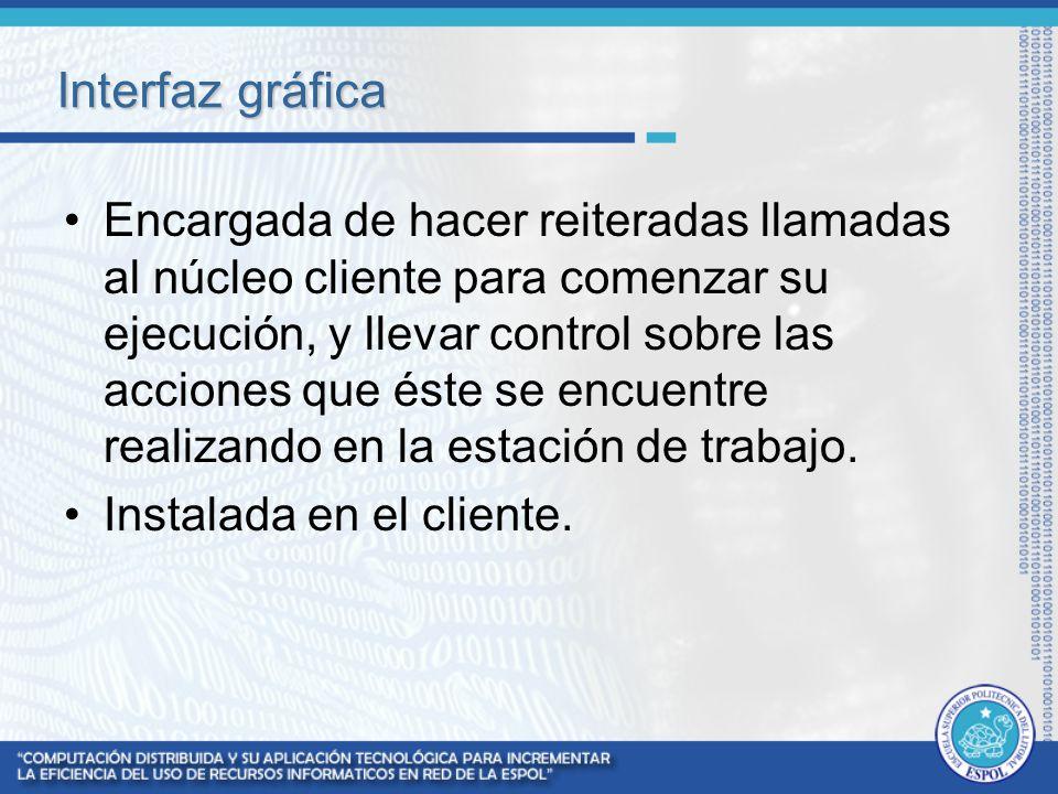 Interfaz gráfica Encargada de hacer reiteradas llamadas al núcleo cliente para comenzar su ejecución, y llevar control sobre las acciones que éste se