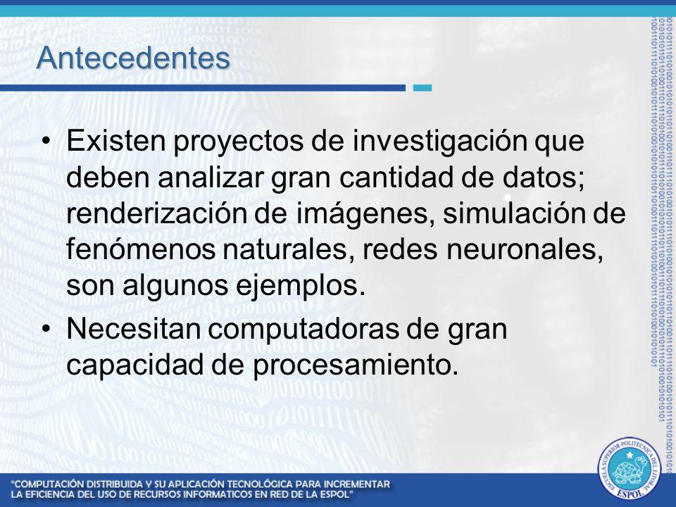 Antecedentes Existen proyectos de investigación que deben analizar gran cantidad de datos; renderización de imágenes, simulación de fenómenos naturale