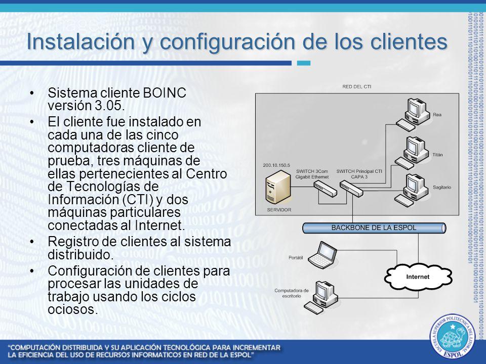 Instalación y configuración de los clientes Sistema cliente BOINC versión 3.05. El cliente fue instalado en cada una de las cinco computadoras cliente