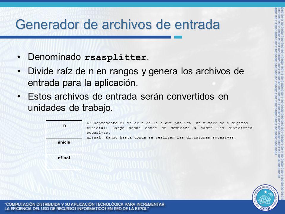 Generador de archivos de entrada Denominado rsasplitter. Divide raíz de n en rangos y genera los archivos de entrada para la aplicación. Estos archivo