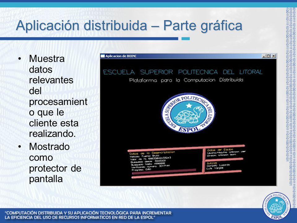 Aplicación distribuida – Parte gráfica Muestra datos relevantes del procesamient o que le cliente esta realizando. Mostrado como protector de pantalla