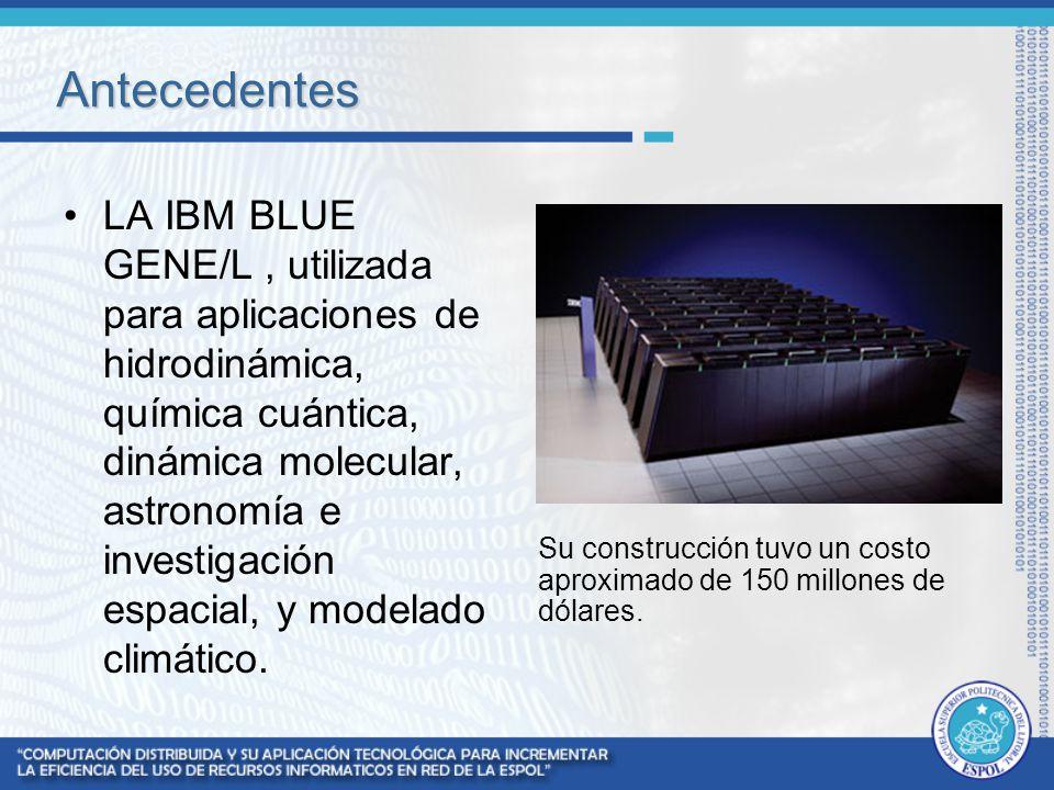 Antecedentes LA IBM BLUE GENE/L, utilizada para aplicaciones de hidrodinámica, química cuántica, dinámica molecular, astronomía e investigación espaci