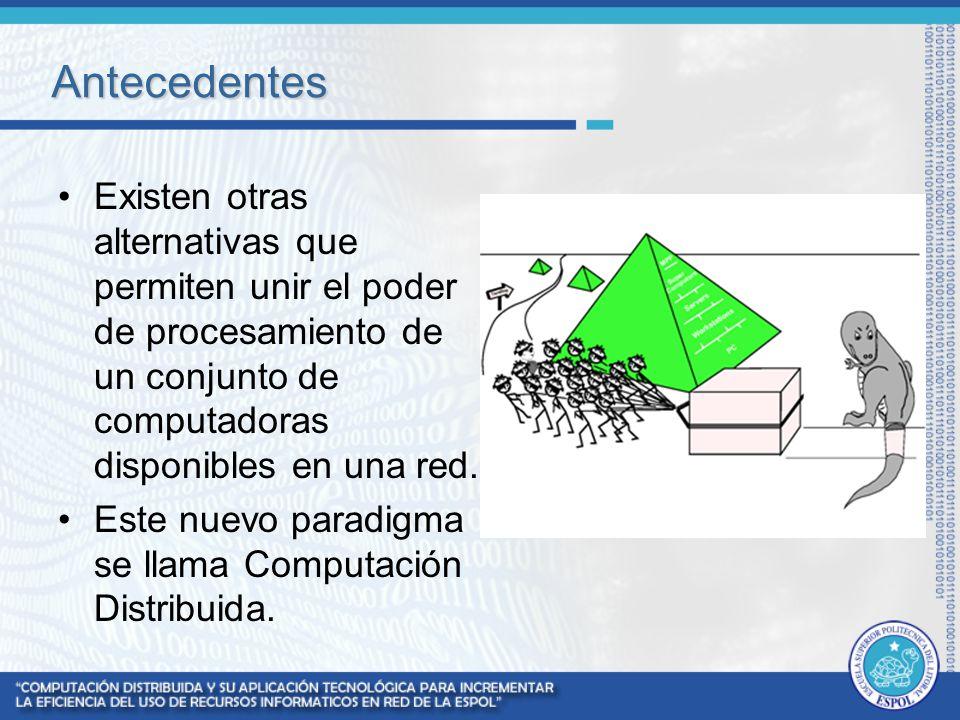 Computación Distribuida La computación distribuida, es un nuevo modelo para resolver problemas de computación masiva utilizando un gran número de computadoras conectadas entre sí mediante una red.