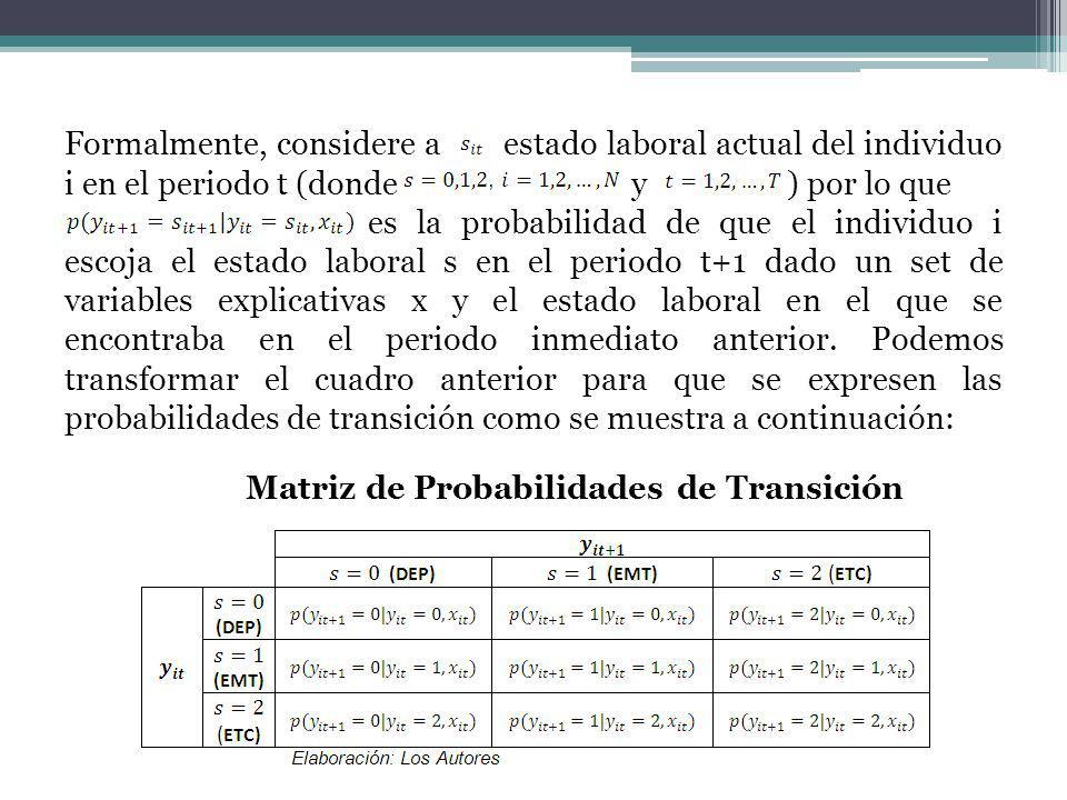 Formalmente, considere a estado laboral actual del individuo i en el periodo t (donde y ) por lo que es la probabilidad de que el individuo i escoja el estado laboral s en el periodo t+1 dado un set de variables explicativas x y el estado laboral en el que se encontraba en el periodo inmediato anterior.