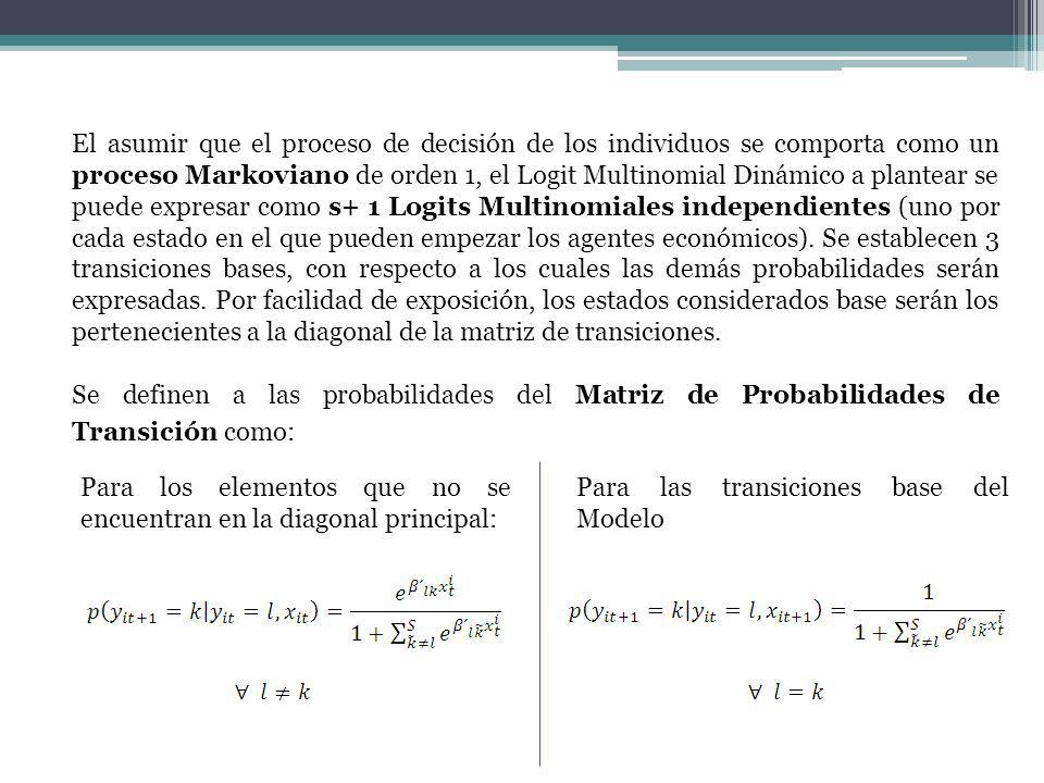 El asumir que el proceso de decisión de los individuos se comporta como un proceso Markoviano de orden 1, el Logit Multinomial Dinámico a plantear se puede expresar como s+ 1 Logits Multinomiales independientes (uno por cada estado en el que pueden empezar los agentes económicos).