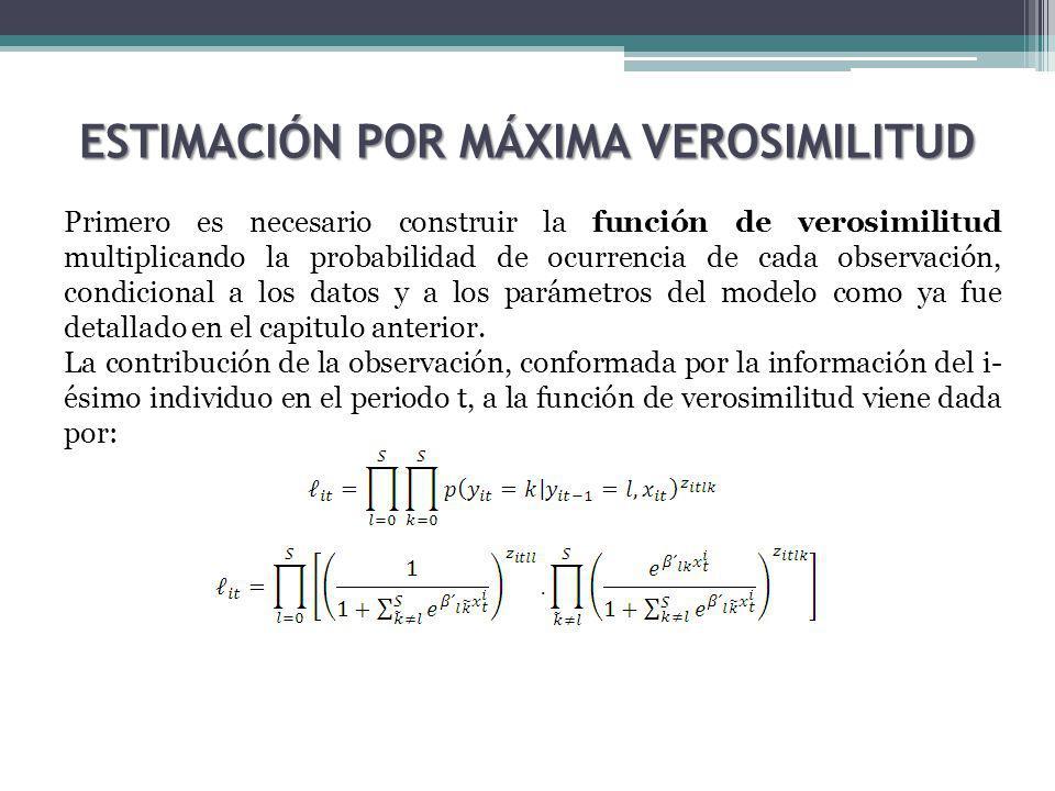 ESTIMACIÓN POR MÁXIMA VEROSIMILITUD Primero es necesario construir la función de verosimilitud multiplicando la probabilidad de ocurrencia de cada observación, condicional a los datos y a los parámetros del modelo como ya fue detallado en el capitulo anterior.