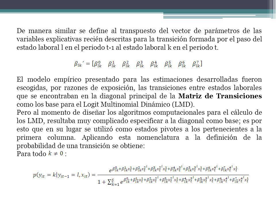 De manera similar se define al transpuesto del vector de parámetros de las variables explicativas recién descritas para la transición formada por el paso del estado laboral l en el periodo t-1 al estado laboral k en el periodo t.