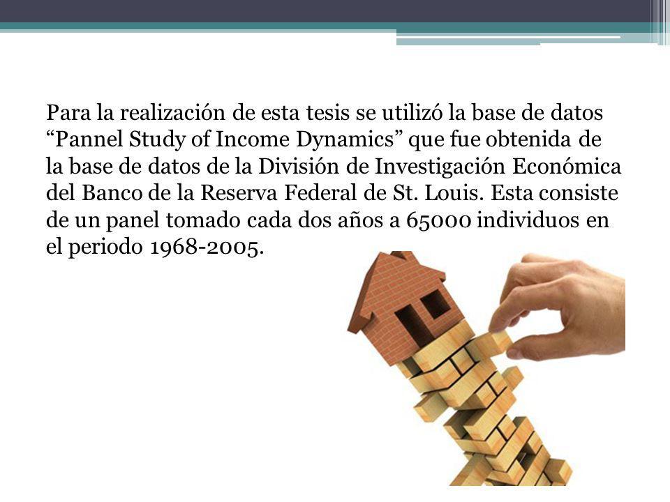 Para la realización de esta tesis se utilizó la base de datos Pannel Study of Income Dynamics que fue obtenida de la base de datos de la División de Investigación Económica del Banco de la Reserva Federal de St.