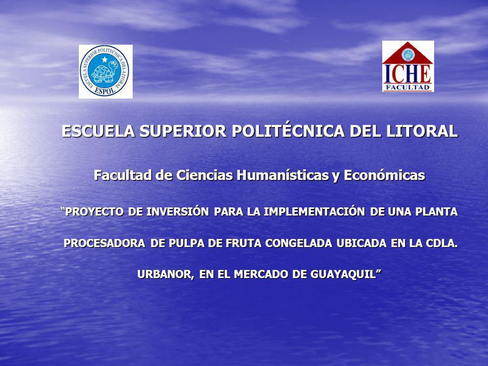 ESCUELA SUPERIOR POLITÉCNICA DEL LITORAL Facultad de Ciencias Humanísticas y Económicas PROYECTO DE INVERSIÓN PARA LA IMPLEMENTACIÓN DE UNA PLANTAPROY