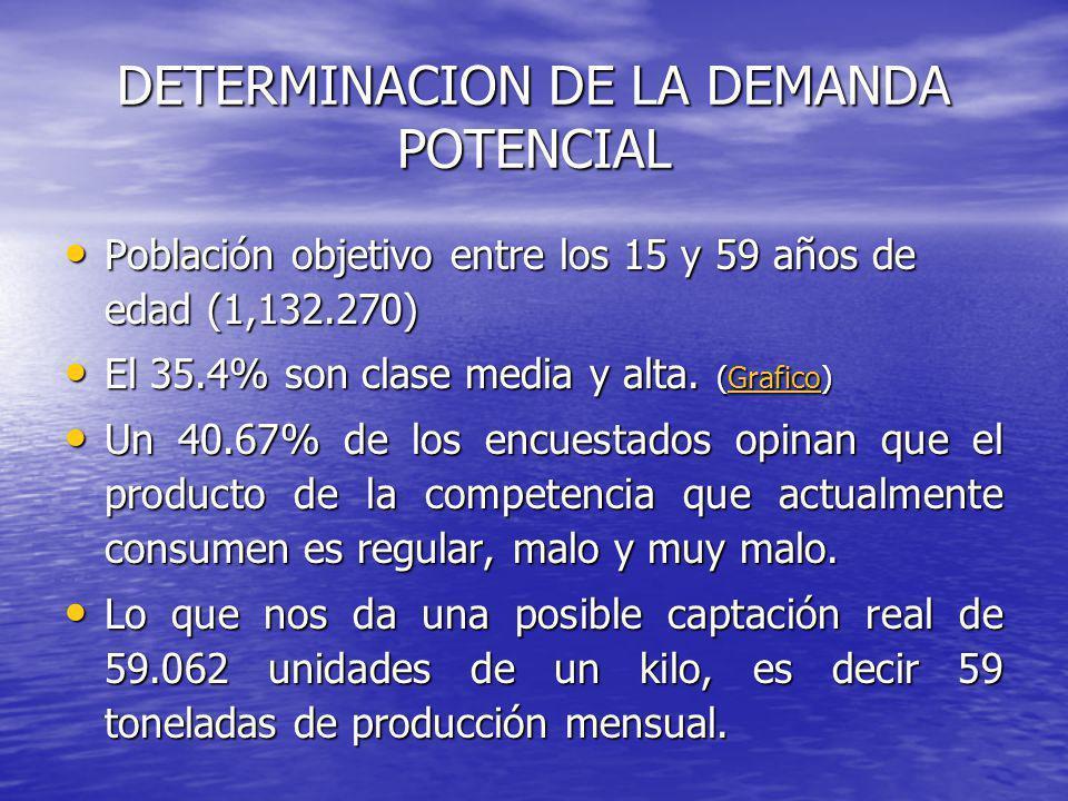 DETERMINACION DE LA DEMANDA POTENCIAL Población objetivo entre los 15 y 59 años de edad (1,132.270) Población objetivo entre los 15 y 59 años de edad