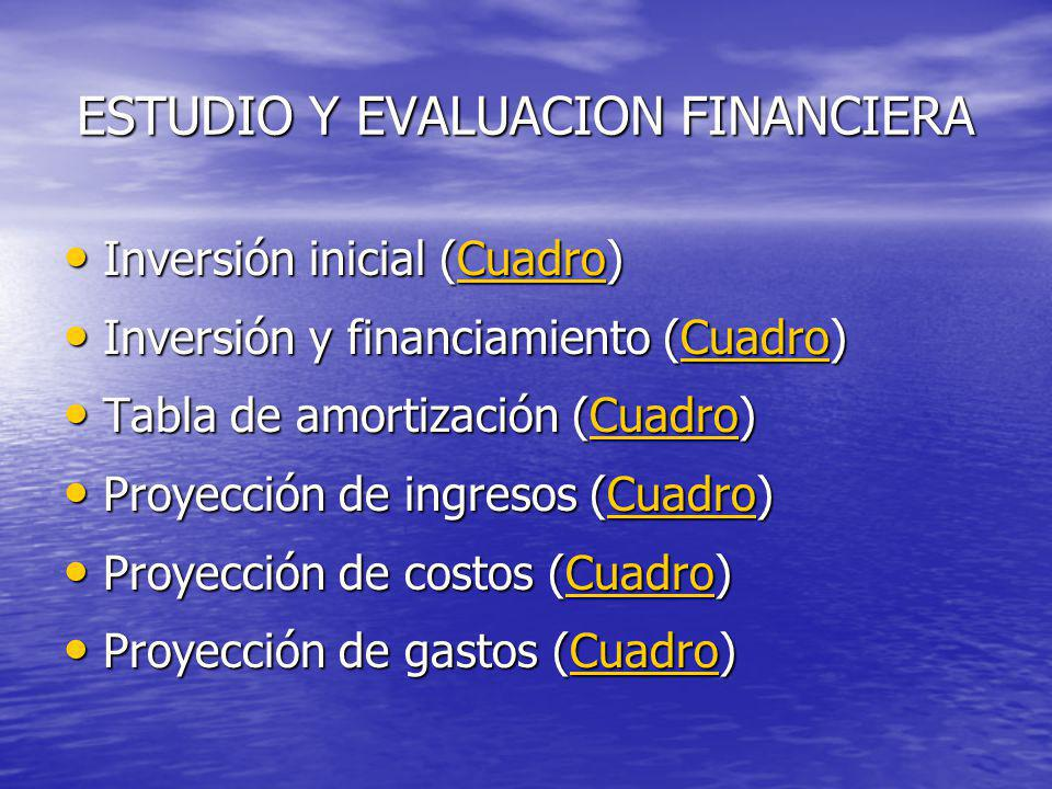 ESTUDIO Y EVALUACION FINANCIERA Inversión inicial (Cuadro) Inversión inicial (Cuadro)Cuadro Inversión y financiamiento (Cuadro) Inversión y financiami