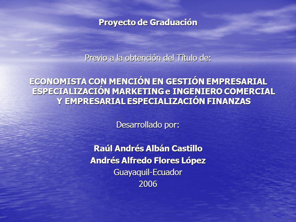 Proyecto de Graduación Previo a la obtención del Título de: ECONOMISTA CON MENCIÓN EN GESTIÓN EMPRESARIAL ESPECIALIZACIÓN MARKETING e INGENIERO COMERC
