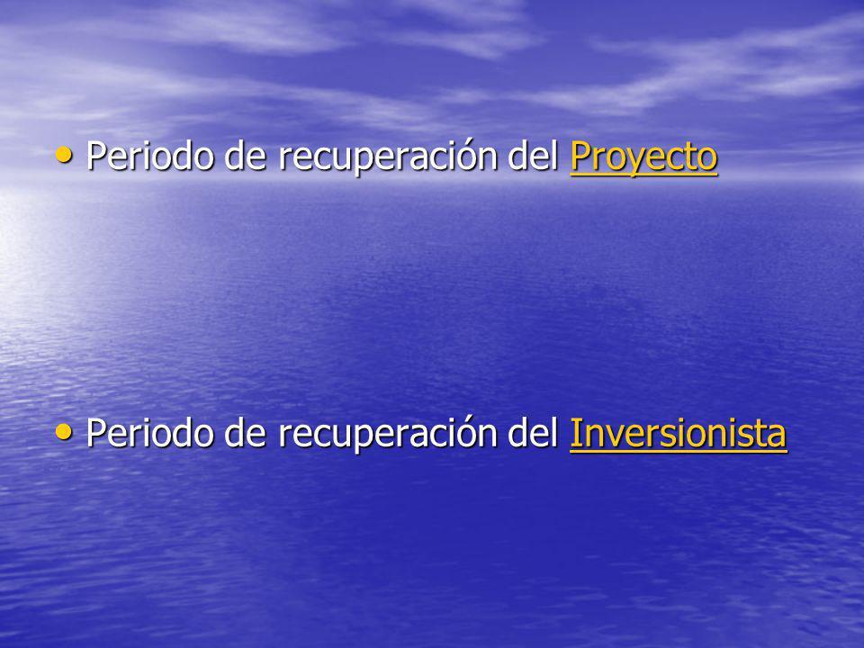 Periodo de recuperación del Proyecto Periodo de recuperación del ProyectoProyecto Periodo de recuperación del Inversionista Periodo de recuperación de