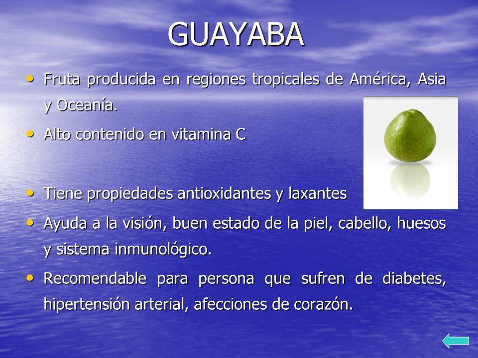 GUAYABA Fruta producida en regiones tropicales de América, Asia y Oceanía. Fruta producida en regiones tropicales de América, Asia y Oceanía. Alto con