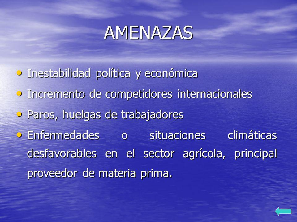 AMENAZAS Inestabilidad política y económica Inestabilidad política y económica Incremento de competidores internacionales Incremento de competidores i