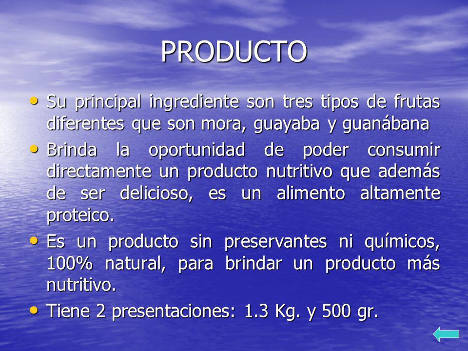 PRODUCTO Su principal ingrediente son tres tipos de frutas diferentes que son mora, guayaba y guanábana Su principal ingrediente son tres tipos de fru