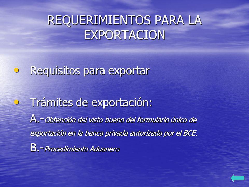 REQUERIMIENTOS PARA LA EXPORTACION Requisitos para exportar Requisitos para exportar Trámites de exportación: Trámites de exportación: A.- Obtención d