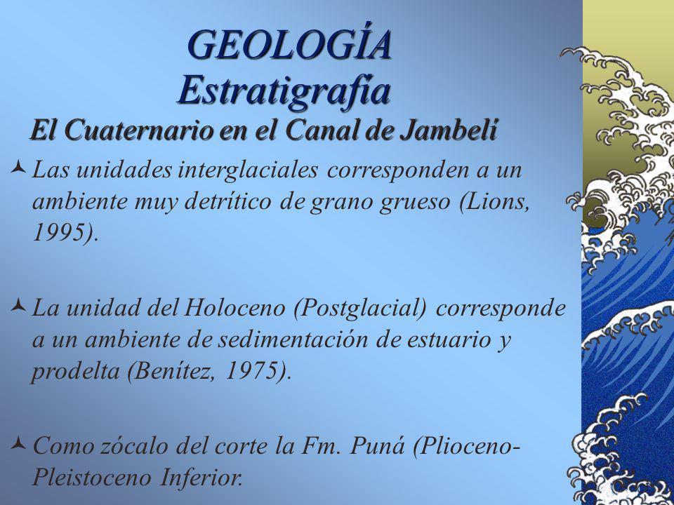 GEOLOGÍA El Cuaternario en el Canal de Jambelí Estratigrafía