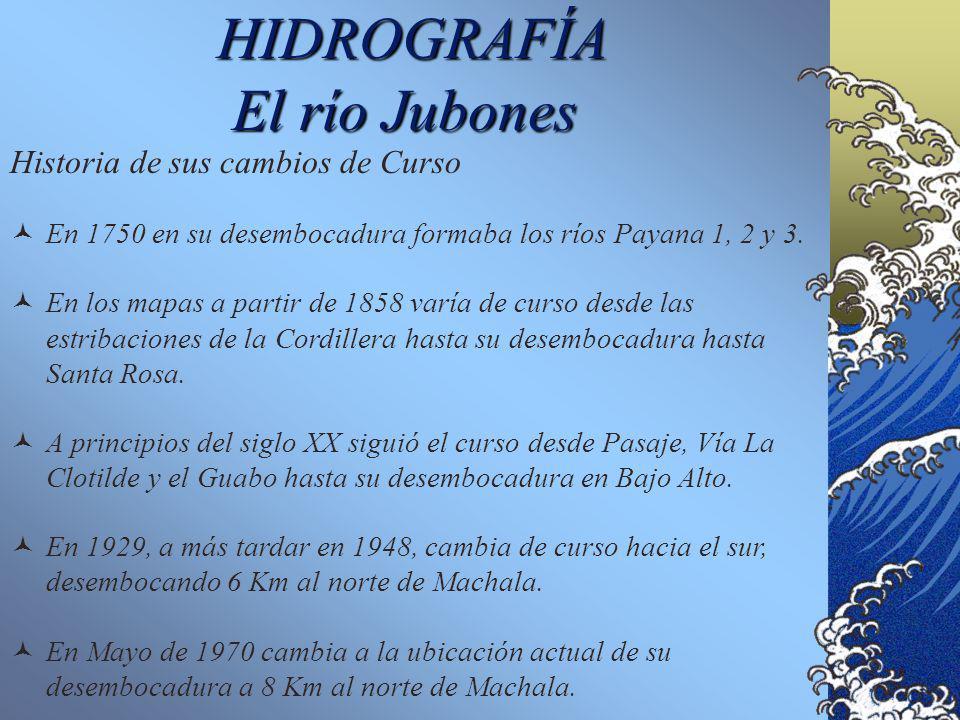 HIDROGRAFÍA El río Jubones Generalidades Drena una cuenca de más de 3.000 km 2 de superficie. La cuenca alta corresponde a zonas de páramo y zonas ári