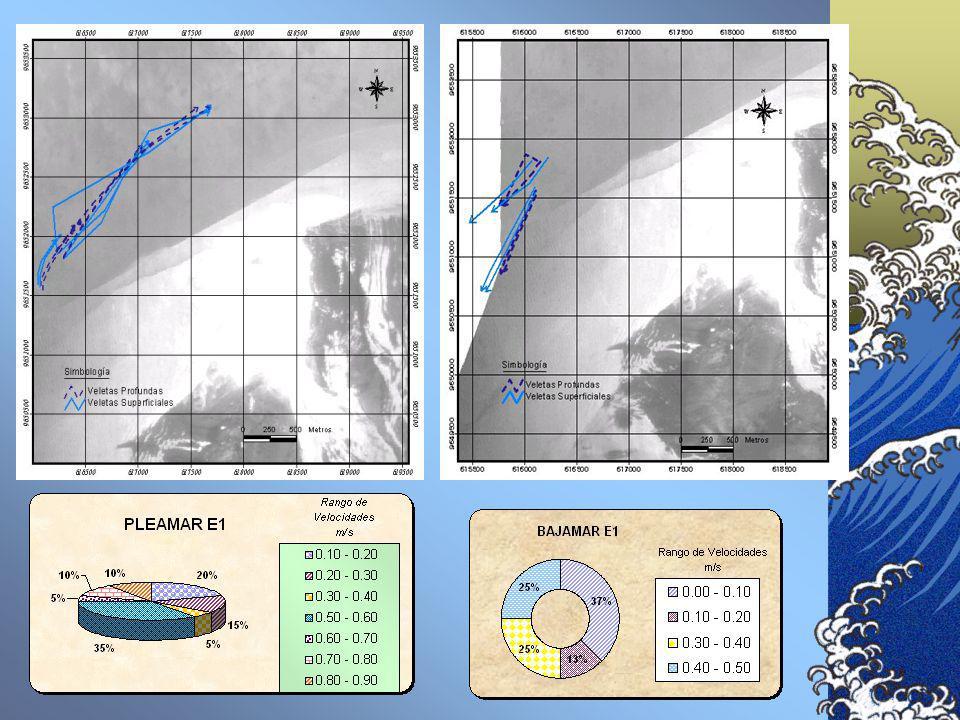 OCEANOGRAFÍA Metodología Se aplicó el Método de Lagrange con flotadores ó veletas superficiales y subsuperficiales. Las veletas fueron posicionadas co