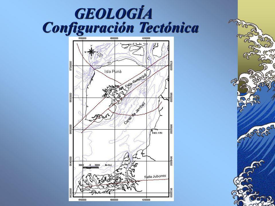 GEOLOGÍA Emplazada en una de las cuencas de antearco: El Graben de Jambelí. Los sistemas de fallas predominantes son NE-SO y NO-SE. La más importante