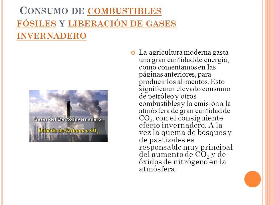 C ONSUMO DE COMBUSTIBLES FÓSILES Y LIBERACIÓN DE GASES INVERNADERO COMBUSTIBLES FÓSILES LIBERACIÓN DE GASES INVERNADERO La agricultura moderna gasta u