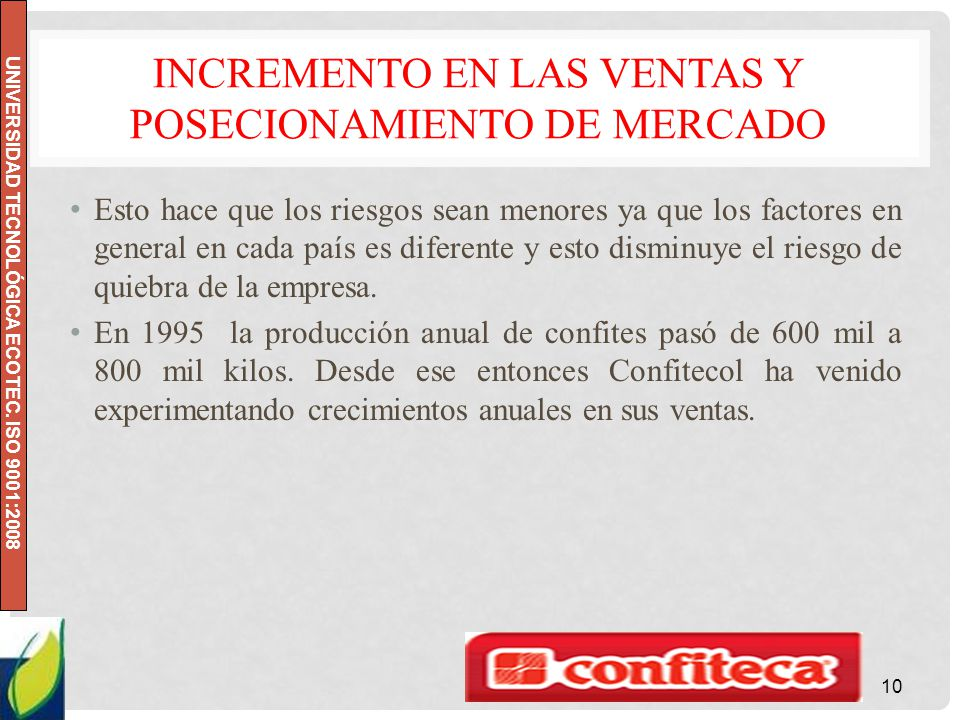 UNIVERSIDAD TECNOLÓGICA ECOTEC. ISO 9001:2008 INCREMENTO EN LAS VENTAS Y POSECIONAMIENTO DE MERCADO Esto hace que los riesgos sean menores ya que los
