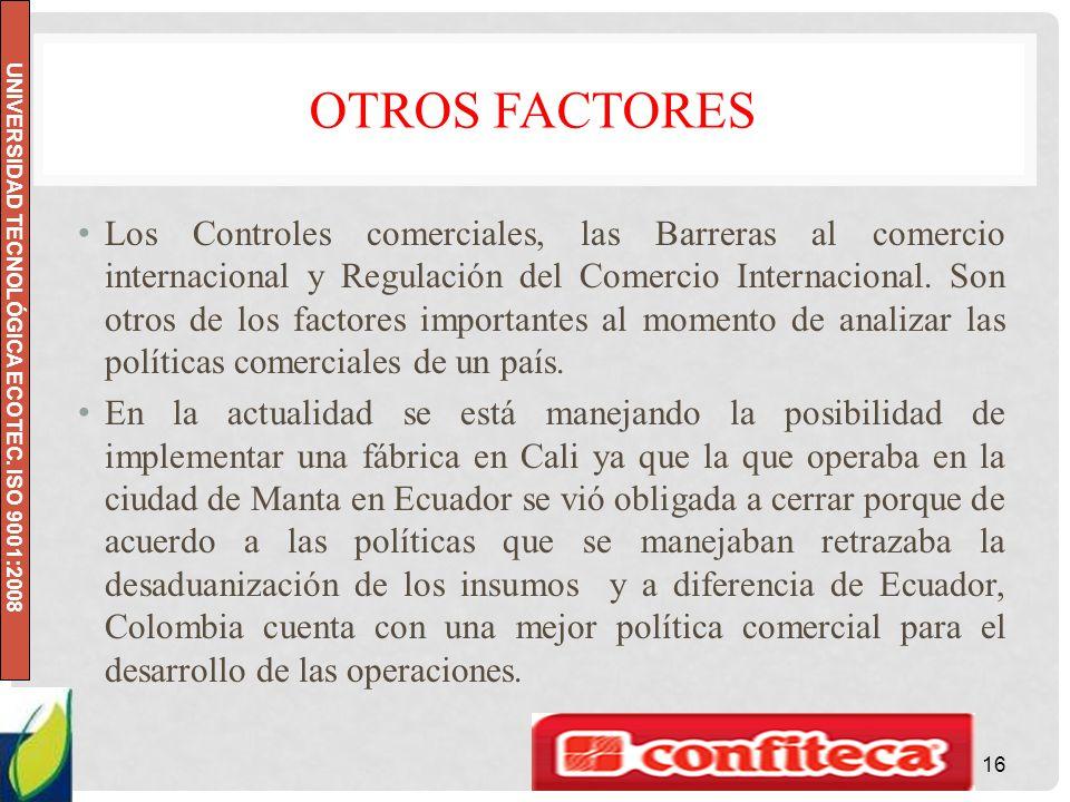UNIVERSIDAD TECNOLÓGICA ECOTEC. ISO 9001:2008 OTROS FACTORES Los Controles comerciales, las Barreras al comercio internacional y Regulación del Comerc
