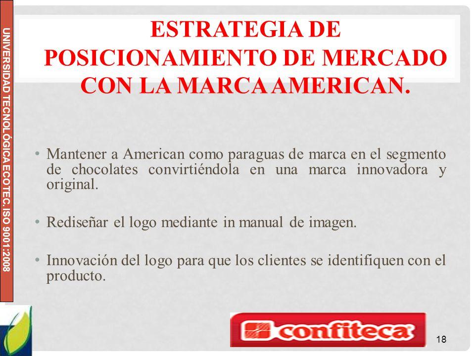 UNIVERSIDAD TECNOLÓGICA ECOTEC. ISO 9001:2008 ESTRATEGIA DE POSICIONAMIENTO DE MERCADO CON LA MARCA AMERICAN. Mantener a American como paraguas de mar