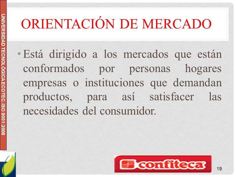 UNIVERSIDAD TECNOLÓGICA ECOTEC. ISO 9001:2008 ORIENTACIÓN DE MERCADO Está dirigido a los mercados que están conformados por personas hogares empresas