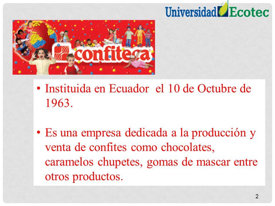 Instituida en Ecuador el 10 de Octubre de 1963. Es una empresa dedicada a la producción y venta de confites como chocolates, caramelos chupetes, gomas